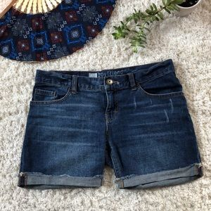 Distressed Cut-off cuffed denim shorts